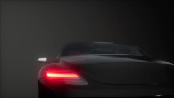 Luxus-Sportwagen im dunklen Studio mit hellen Lichtern