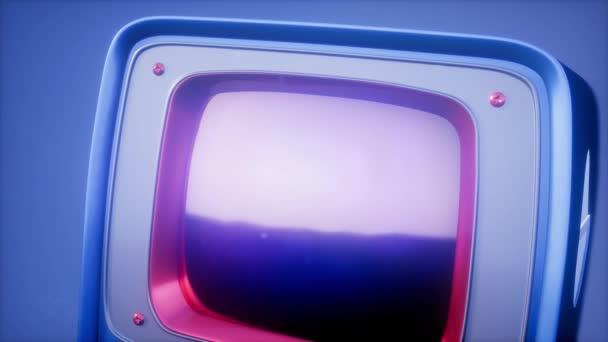 Retro tv na pozadí modré oblohy se světlem