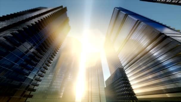 Podíval se na mrakodrapy Manhattanu při západu slunce, New York City, Usa.