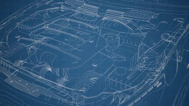 Motor und andere Teile im Auto sichtbar