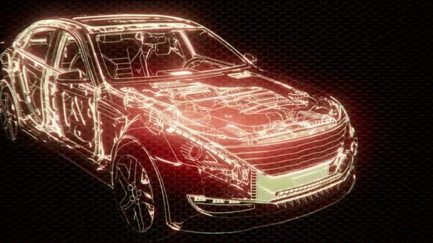 holografická animace 3D drátového modelu vozu s motorem