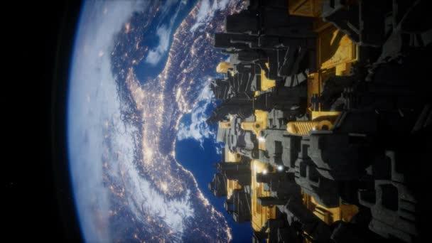 Kosmická loď s výhledem na vesmír a na planetě země