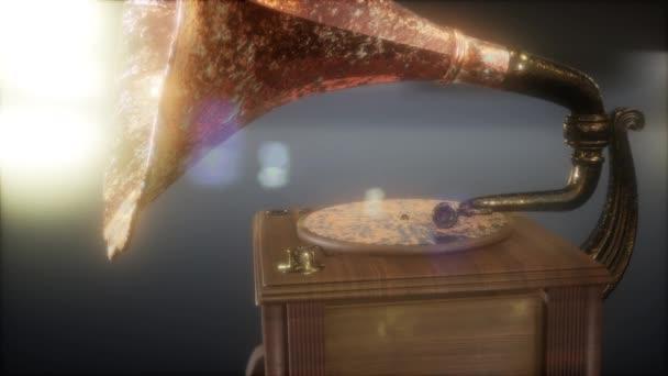 Vintage Grammophon in dunkel mit Frairs. Retro-Technologie.