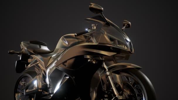 Moto sport kolo v tmavých studio s jasnými světly