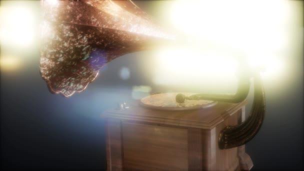 Retro gramofon ve tmě s frairs. Retro technologie.