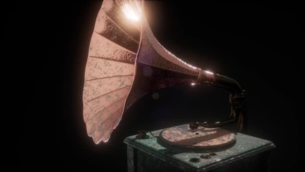 Vintage gramofon sötétben frairs. retro technológia.