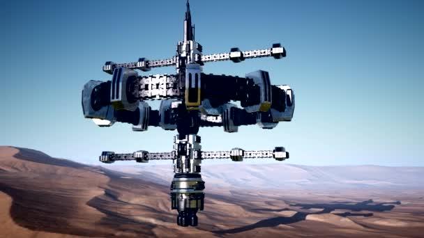 mimozemská kosmická loď otočit nad pouští. UFO