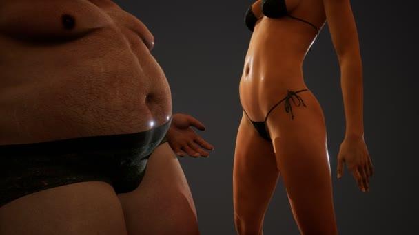 kövér ember és szexi nő pózol a stúdióban