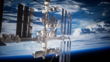A view of the Earth and a spaceship. International space station is orbiting the Earth, Elements furnished by NASA.