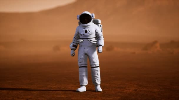 Astronaut on Mars Surface. Red Planet Covered in Gas and rock