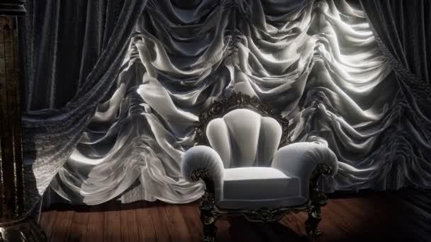 luxuriöse Theatervorhang Bühne mit Stuhl