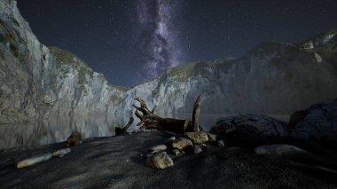 hyperlapse of night starry sky with mountain and ocean beach in Lofoten Norway
