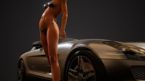 Fiatal szexi nő pózol bikini által fémes sport autó