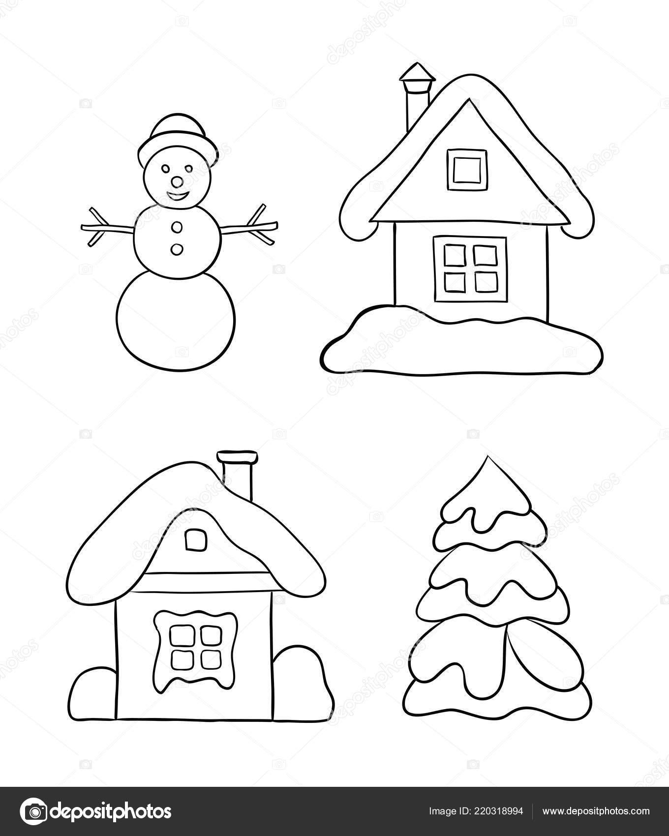 Conjunto Inverno Desenhos Para Colorir Duas Casas Boneco