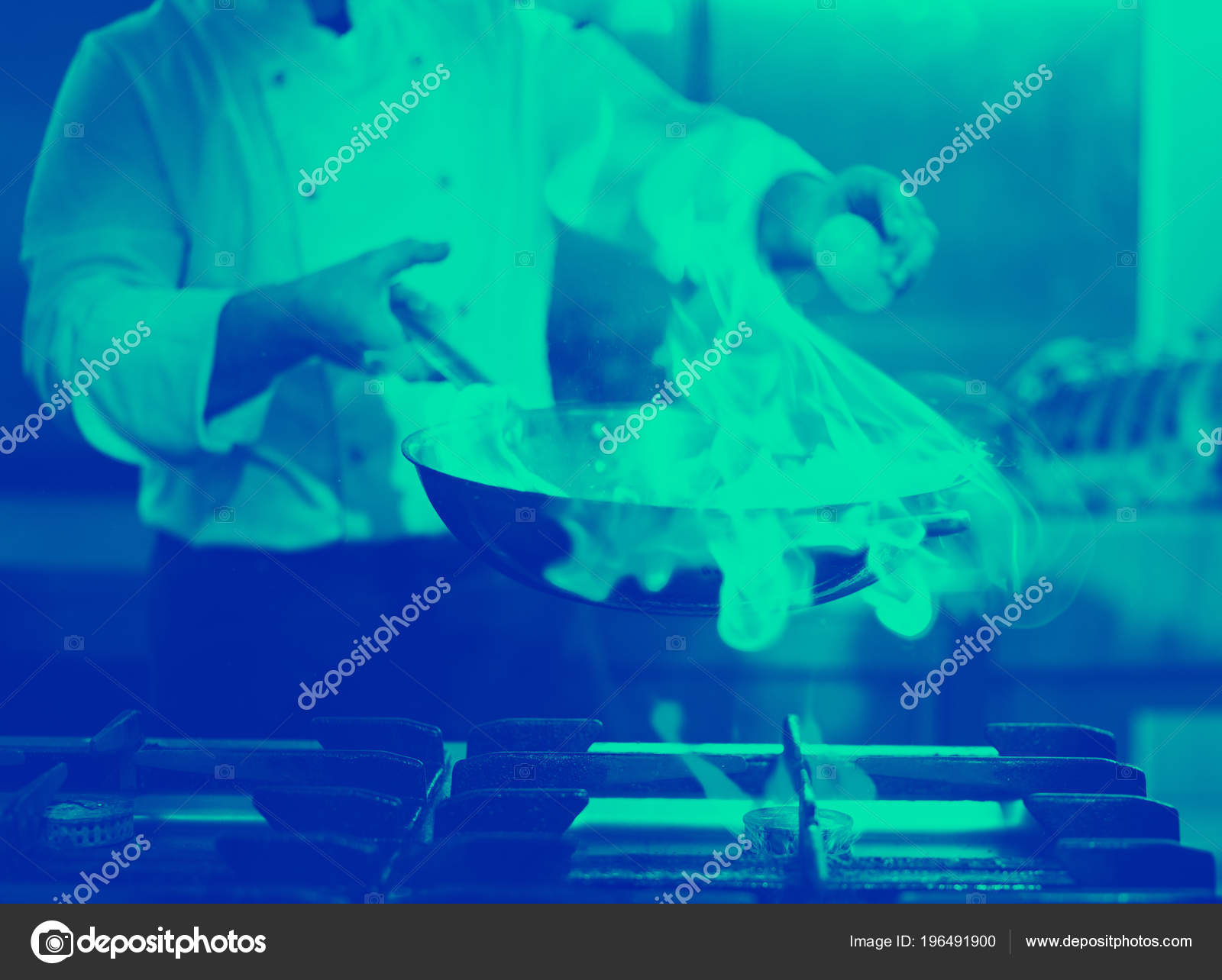 Chef Cooking Doing Flambe Food Restaurant Kitchen — Stock Photo ...
