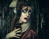 Fotografie Aggressive stilvollen Steampunk Lady in einem kreativen Interieur. Kunst ein Modekonzept