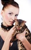 Fotografie elegante Frau mit Katze