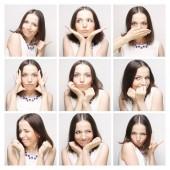Koláž z žena tvář výrazů složený