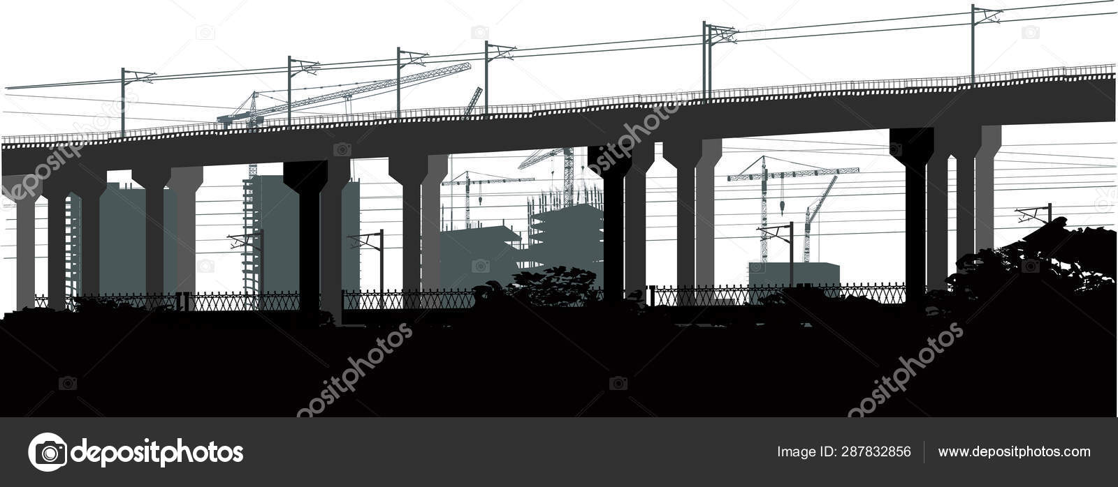 House Building And Modern Bridge On White Stock Vector C Dr Pas 287832856