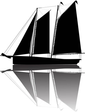 boat with three black sails and reflection