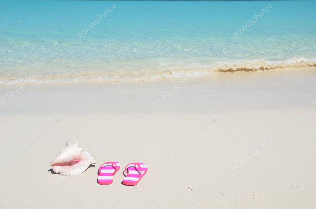 sea shell with pink flip-flops on sandy beach with blue ocean water of Exuma, Bahamas
