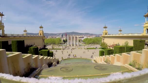 Urban landscape from Barcelona, Spain square. 04. 15. 2018 Spain, Barcelona (time lapse)