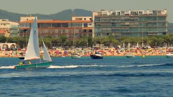 Sailboat course in Spanish Costa Brava, town Palamos. 15. 07. 2018 Spain