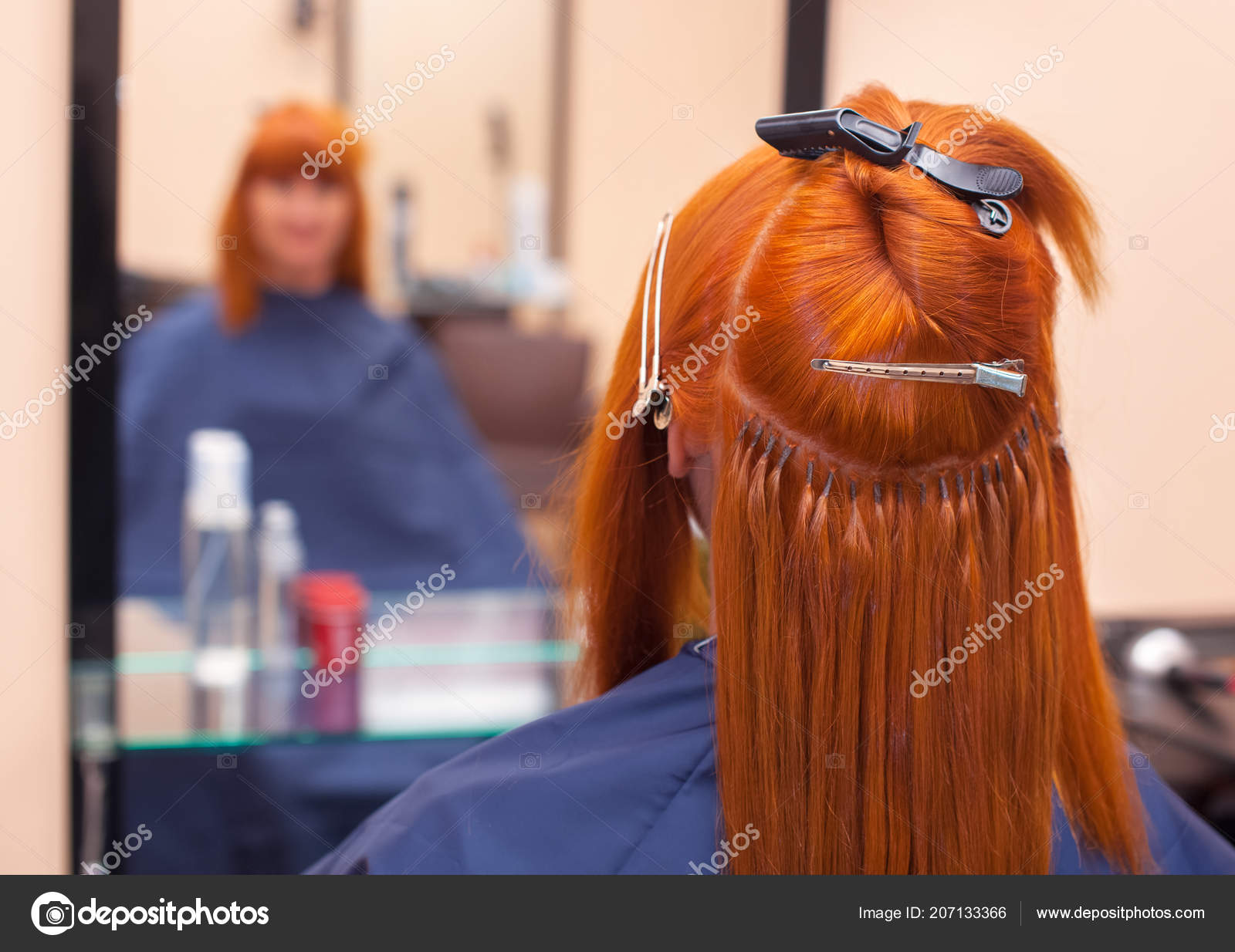 Hairdresser Does Hair Extensions Young Red Haired Girl Beauty Salon
