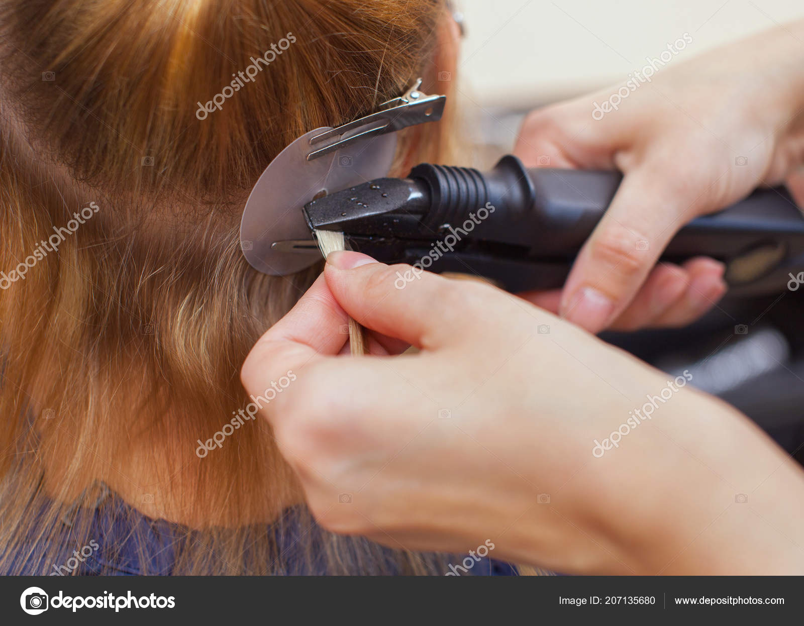Hairdresser Does Hair Extensions Young Girl Blonde Beauty Salon