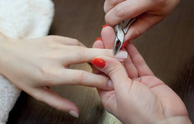 The master of the manicure cuts the cuticles on the hands in the beauty salon. Professional hand care.