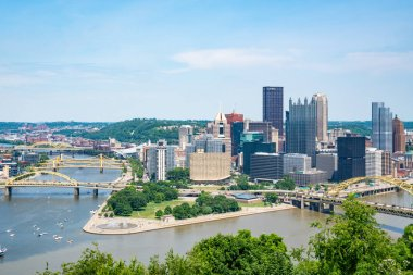 PITTSBURGH, PA - JUNE 16, 2018: Pittsburgh, Pennsylvania skyline  overlooking the Allegheny Monongahela rivers from Point of View Park on the South Shore.