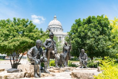 JEFFERSON CITY, MO - JUNE 20, 2018: Lewis and Clark Monument next to the state capital building in Jefferson City, Missouri