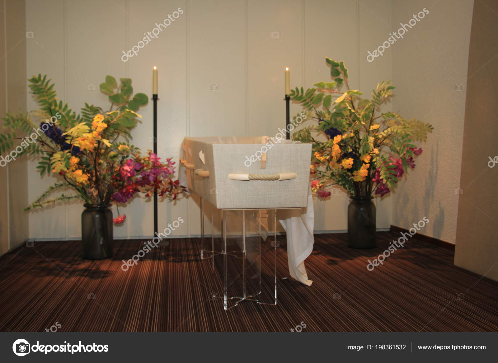 Modern Casket Funeral Home Flowers Candles Stock Photo