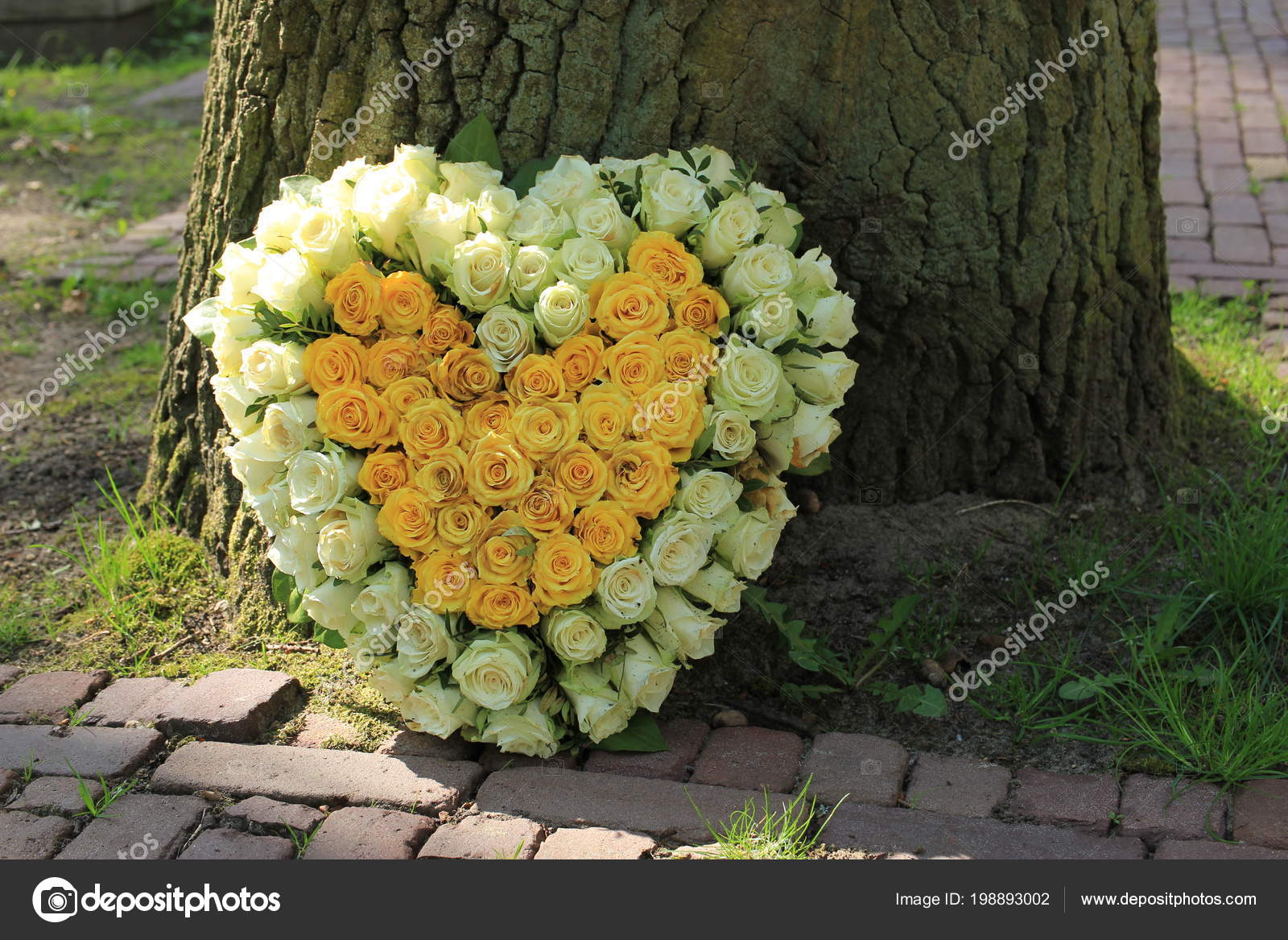 Heart shaped sympathy flowers funeral flowers tree white yellow heart shaped sympathy flowers funeral flowers tree white yellow roses stock photo izmirmasajfo