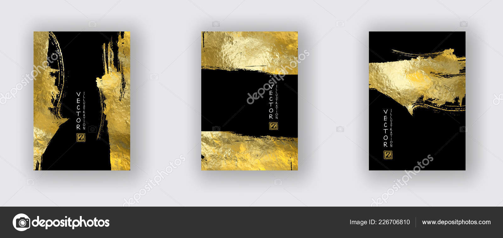 vector black gold design templates set brochures flyers mobile