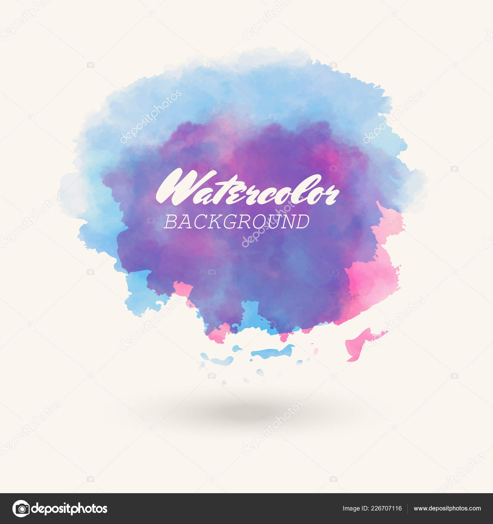 Color Watercolor Hand Drawn Isolated Wash Spot White