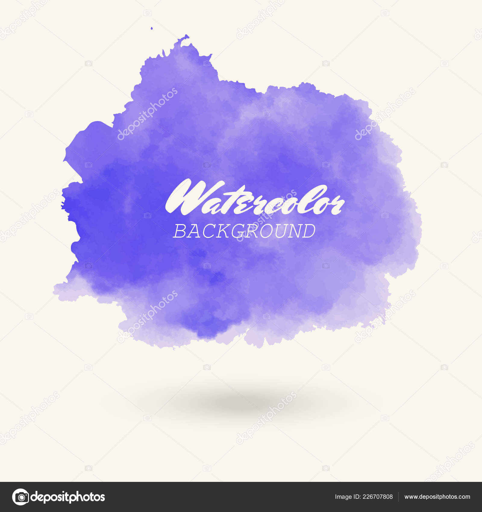Blue Watercolor Hand Drawn Isolated Wash Spot White