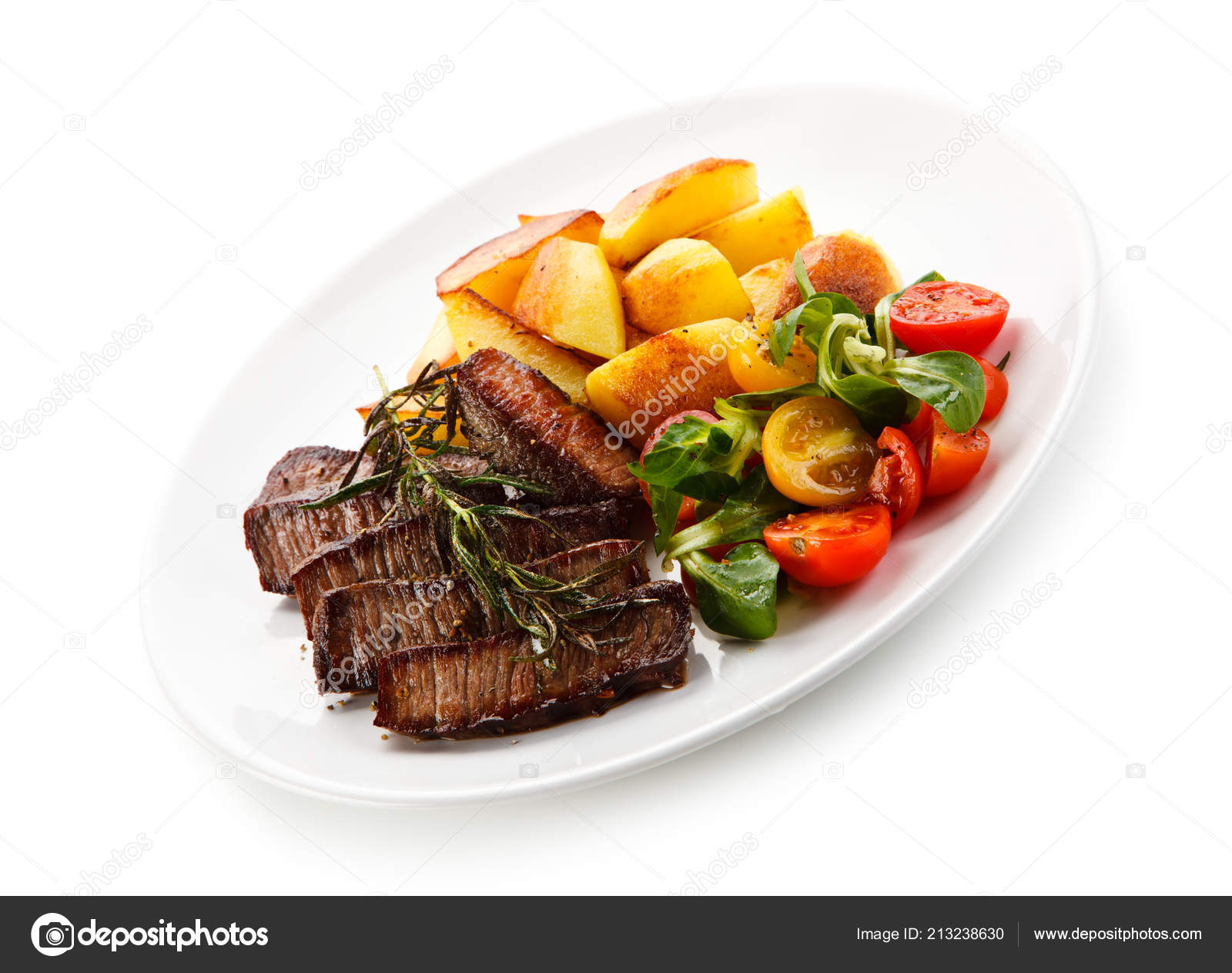 Sliced Beef Steak Baked Potatoes Fresh Vegetables White Plate Stock Photo C Gbh007 213238630