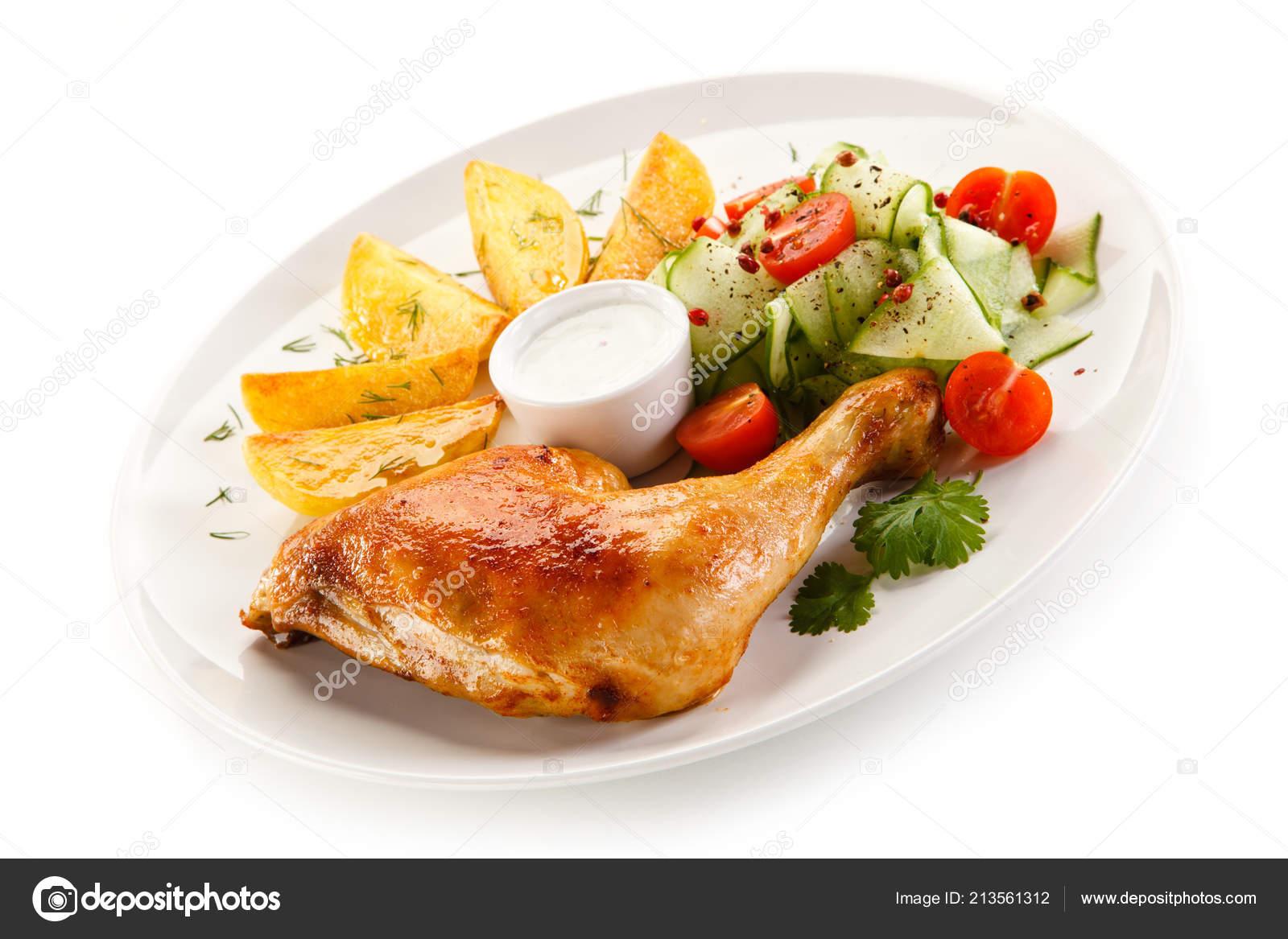 Pierna Pollo Horno Con Cuartos Patata Ensalada Mayonesa ...