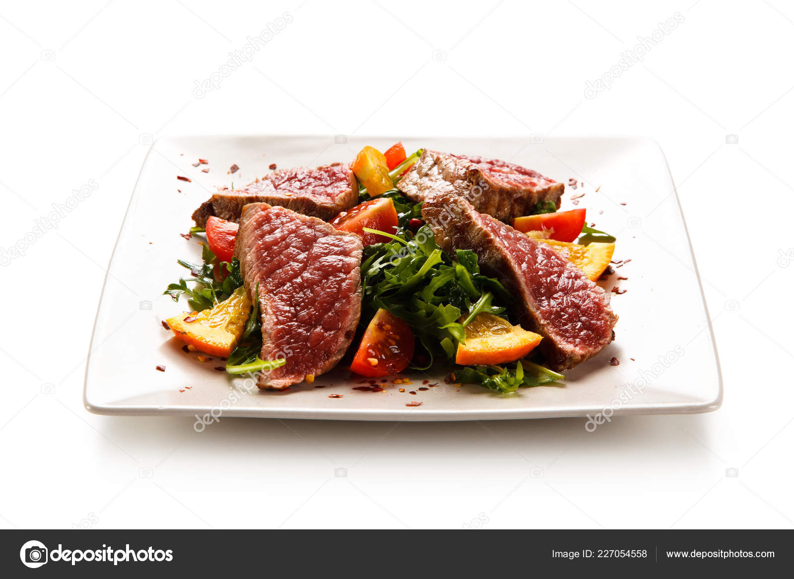Sliced Beef Steak Salad White Plate Stock Photo C Gbh007 227054558