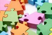 Fotografie bright colorful puzzle pieces, close-up