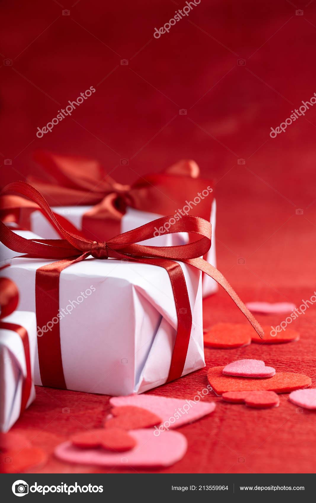 Festive Presents Valentine Day Close Stock Photo C Strelok 213559964