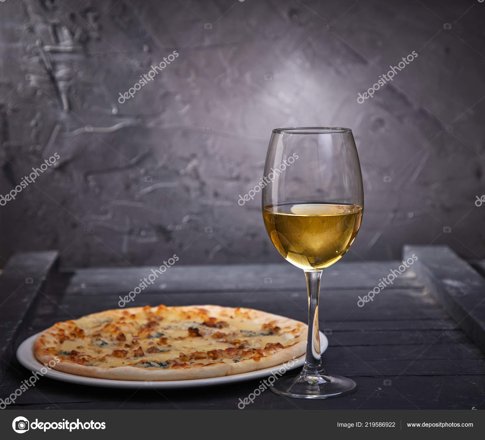 Wineglass Cold White Wine Pizza Grey Background Close Stock