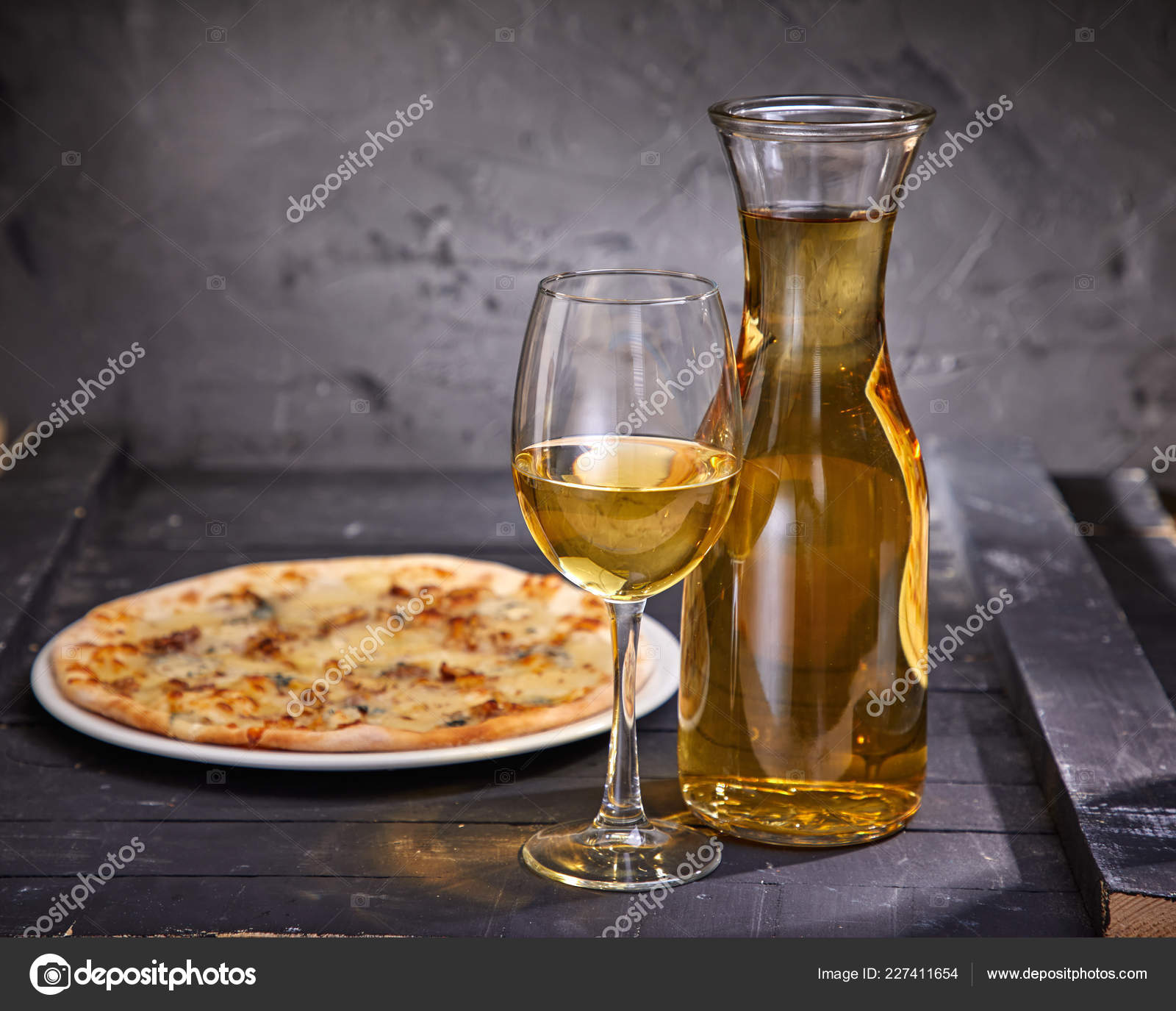 Wineglass Decanter Cold White Wine Pizza Wooden Background Close