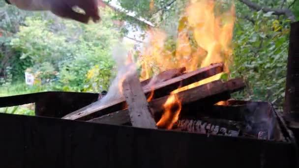A férfi kezek fát dobnak a tábortűz grillbe.