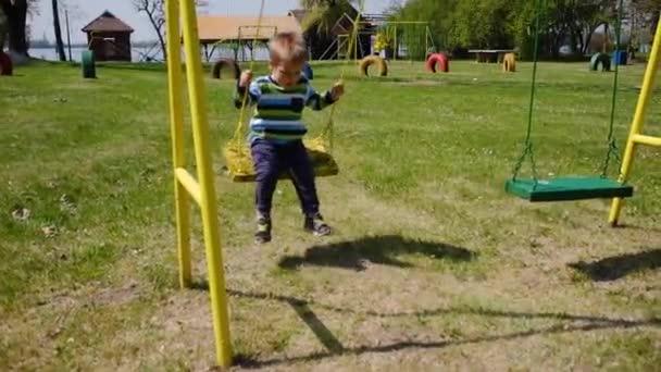 Little boy swinging on a swing.