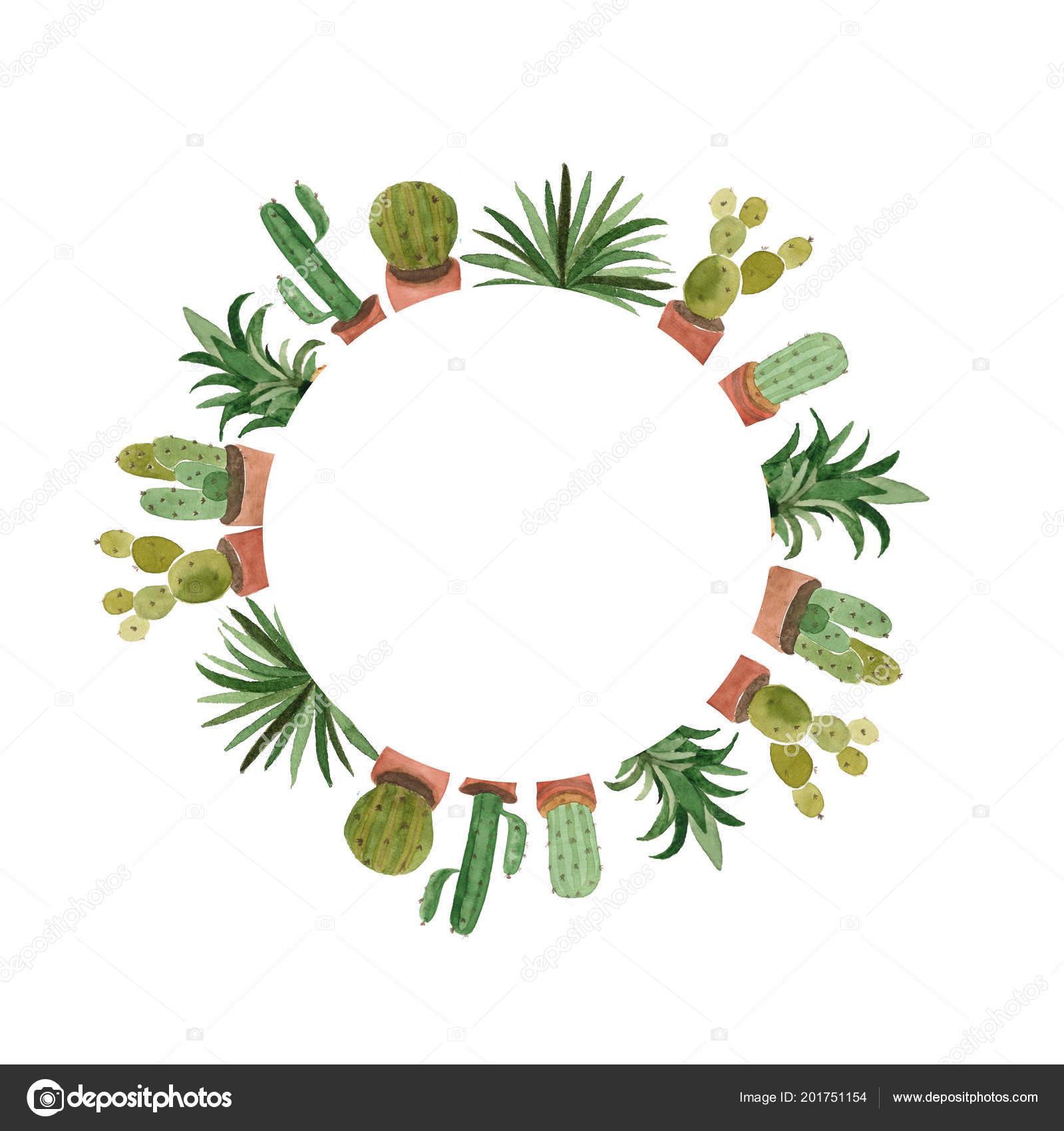 watercolor cactus tropical leaves template hand drawn design stock
