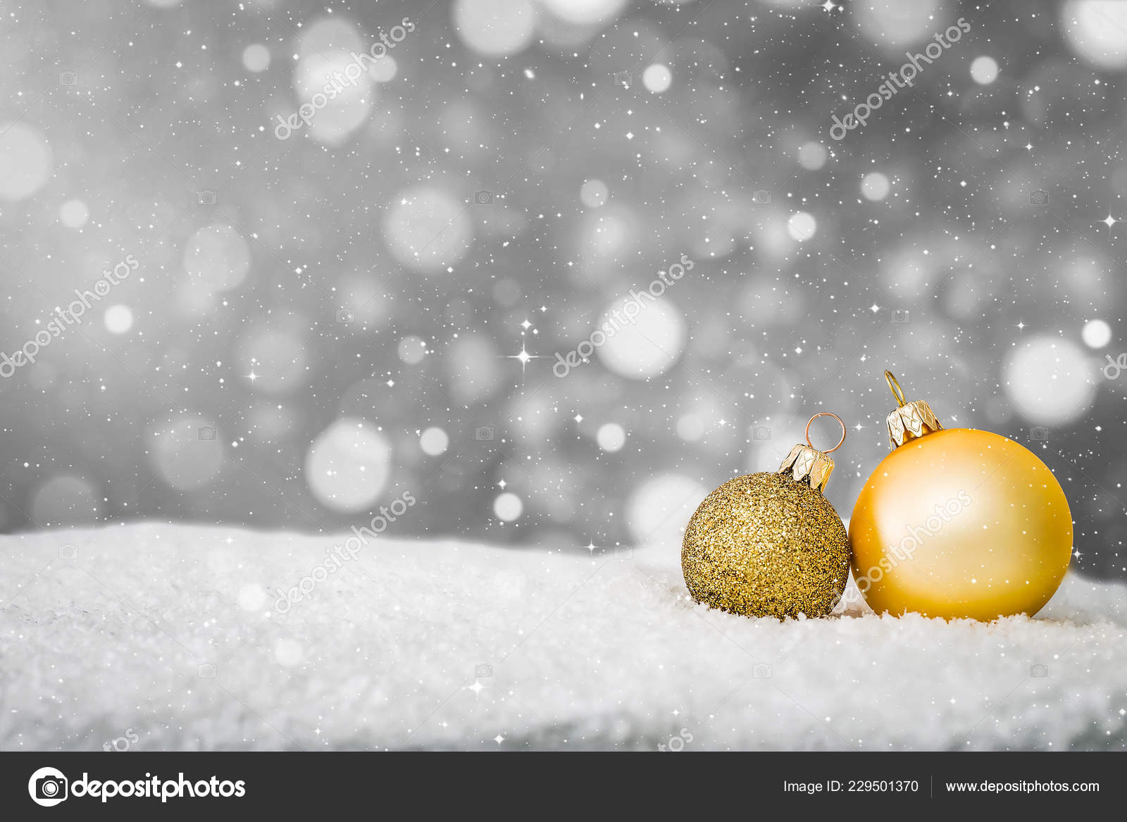White Christmas Snow Background.Snow Background Closeup Decoration White Christmas Golden