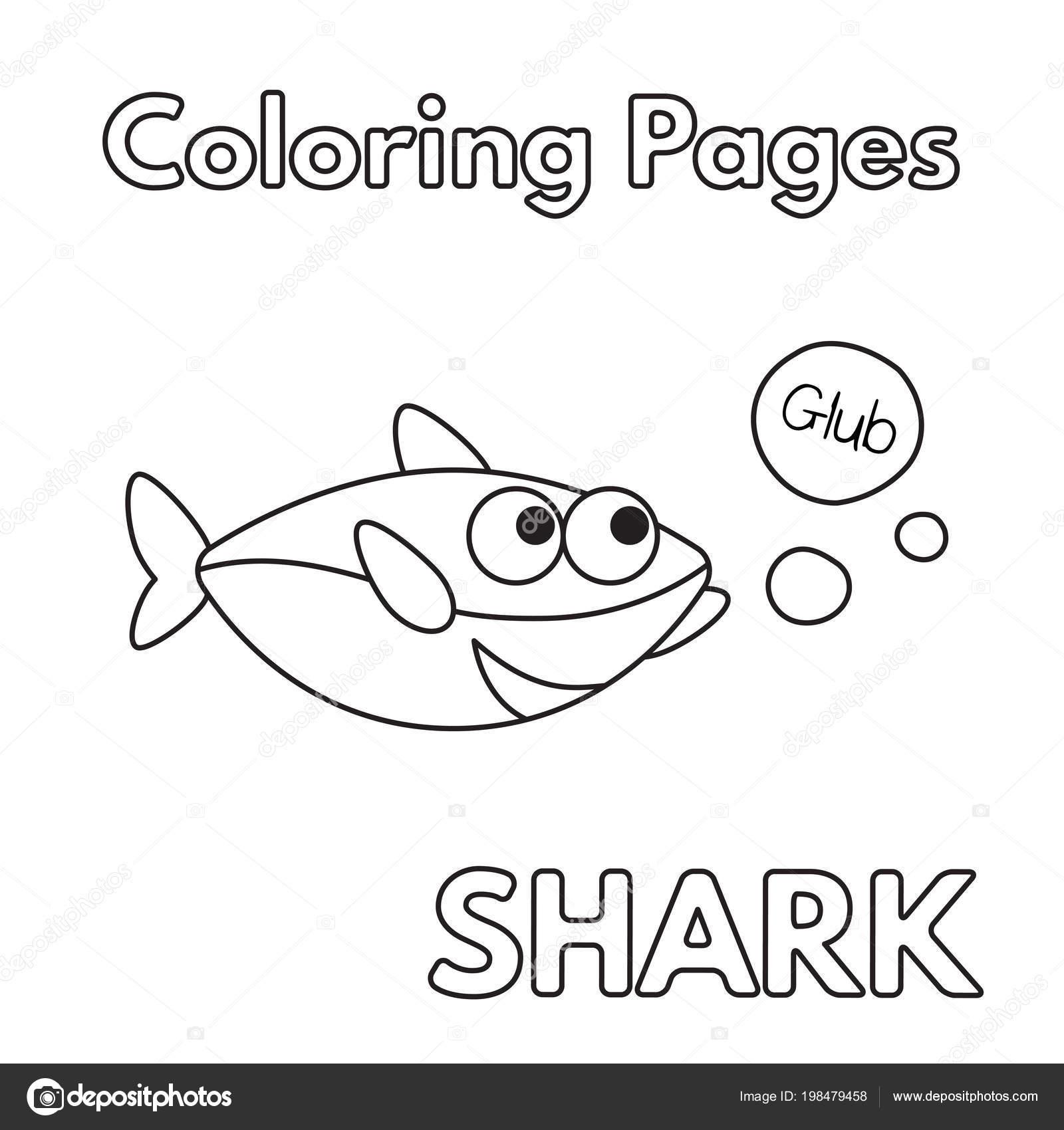 çizgi Film Köpekbalığı Boyama Kitabı Stok Vektör Romanvolkov