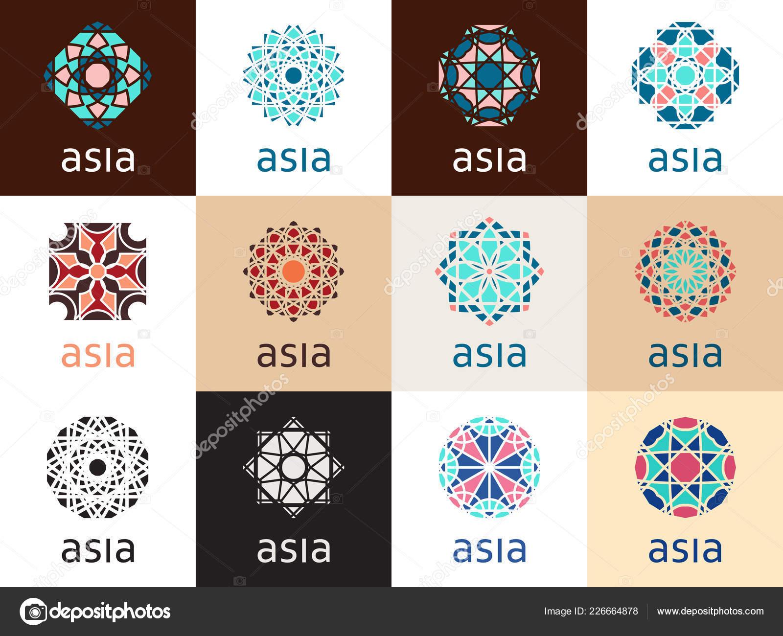 geometric logo template set vector mosaic oriental ornamental